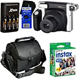 Fujifilm INSTAX 300 Wide-Format Instant Photo Film Camera (Black/Silver) + Fujifilm instax Wide Instant Film, Twin Pack (20 sheets) + 4 AA High Capacity Rechargeable Batteries with Battery Charger + Camera Case + HeroFiber Ultra Gentle Cleaning Cloth