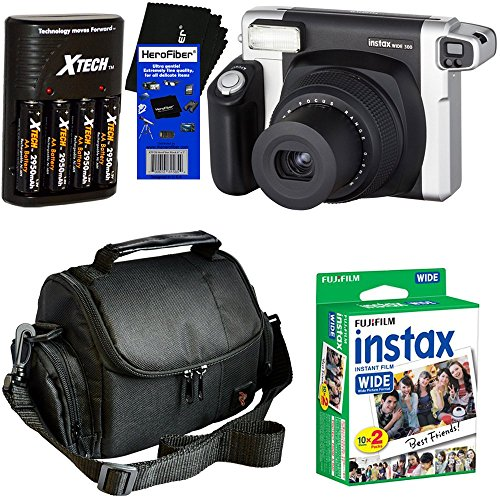 Fujifilm INSTAX 300 Wide-Format Instant Photo Film Camera (Black/Silver) + Fujifilm instax Wide Instant Film, Twin Pack (20 sheets) + 4 AA High Capacity Rechargeable Batteries with Battery Charger + Camera Case + HeroFiber Ultra Gentle Cleaning Cloth by HeroFiber