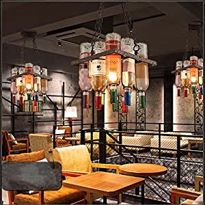 MGCHD Retro Chandelier Industrial Wind Restaurant Café Iron Wine Bottle Glass Bar Bar Light A+ ( Size : 3185cm )