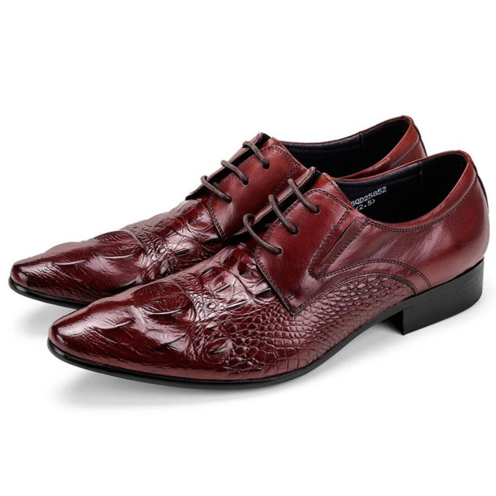 GAOLIXIA Zapatos de vestir de cuero real de moda de los hombres Zapatos de vestir de verano Grano de cocodrilo Zapatos de oficina de trabajo informal Banquete de boda Noche ( Color : Borgoña , tamaño : 37 ) 37|Borgoa