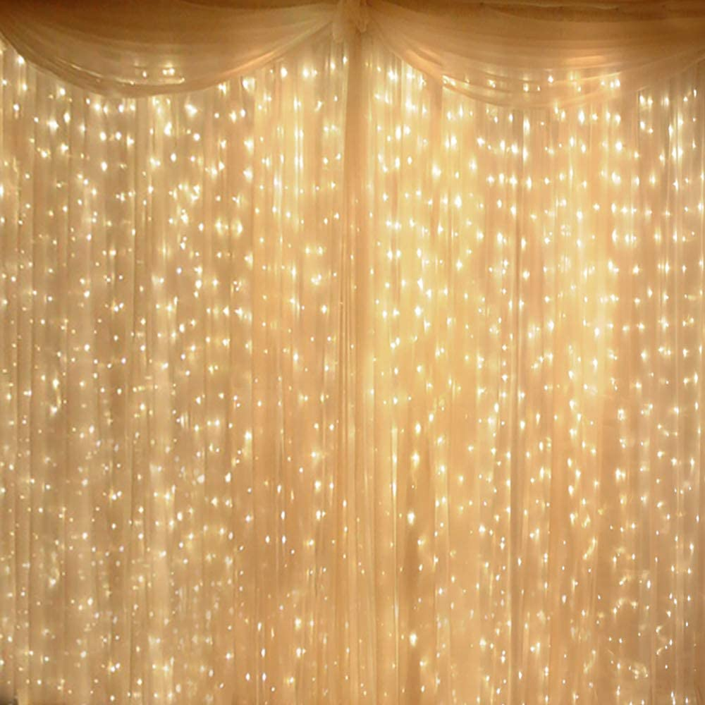 Marchpower Curtain Lights- 600 LED 8 Lighting Modes Valentine's Day Lights, Fairy String Lights for Window Bedroom Wall Patio Party Decoration, Warm White, 19.68 FT X 9.84 FT