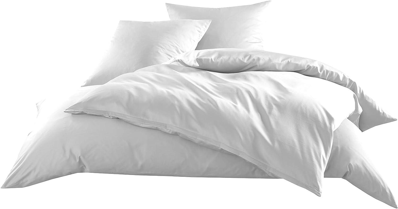 Mako-Satin Baumwollsatin Bettbezug Uni einfarbig zum Kombinieren (Bettbezug 240 cm x 220 cm, Weiß)