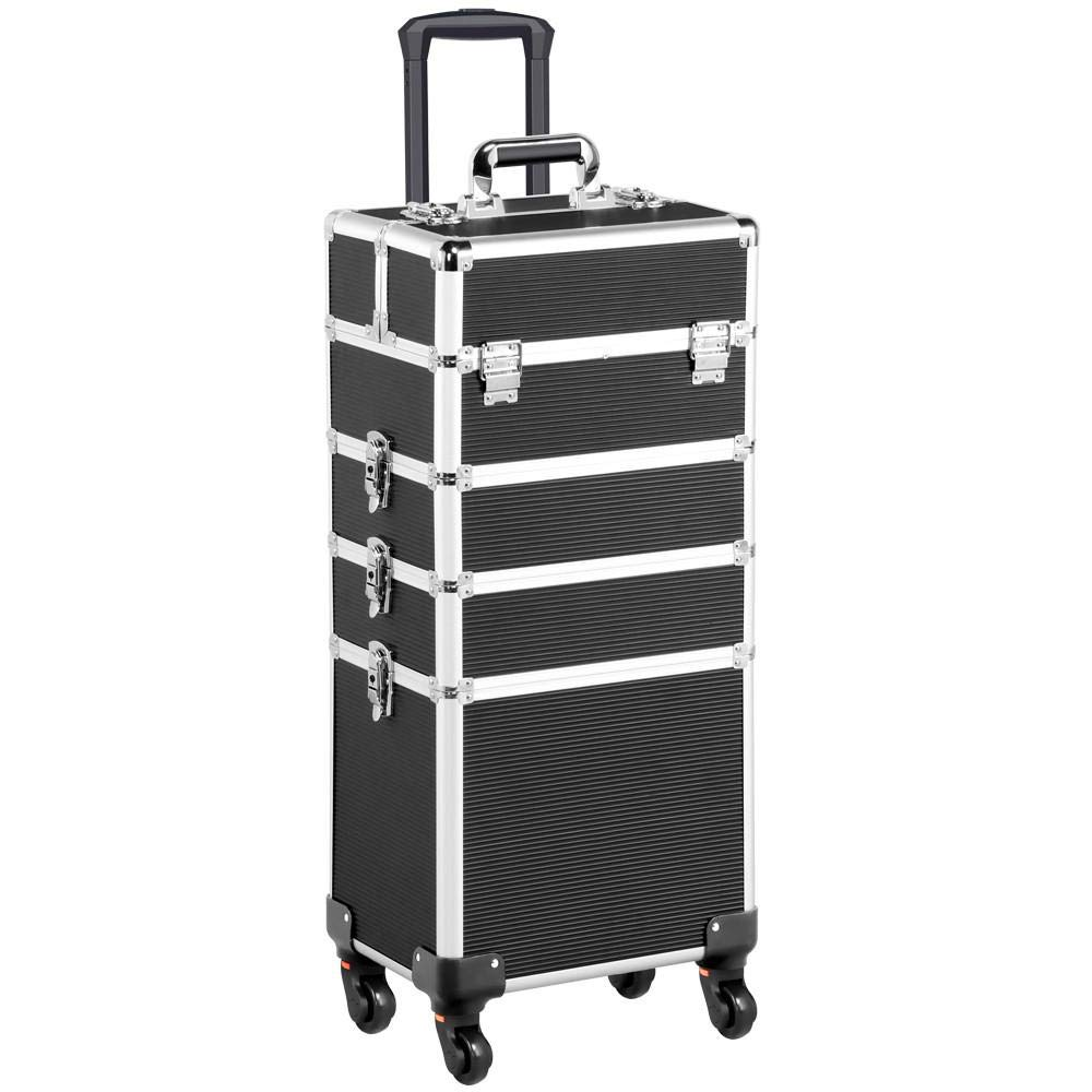 Yaheetech 4 in 1 Aluminum Rolling Makeup Train Case Cosmetic Trolley 4 Removable Wheels Professional Artist Train Case Organizer Box with Hexagonal Telescopic Rod Lift Handle Black by Yaheetech