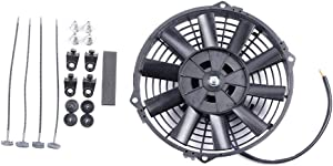 "SCITOO Radiator Cooling Fan Mount Kit 8""inch Push Pull Slim Electric Universal Plastic Black"