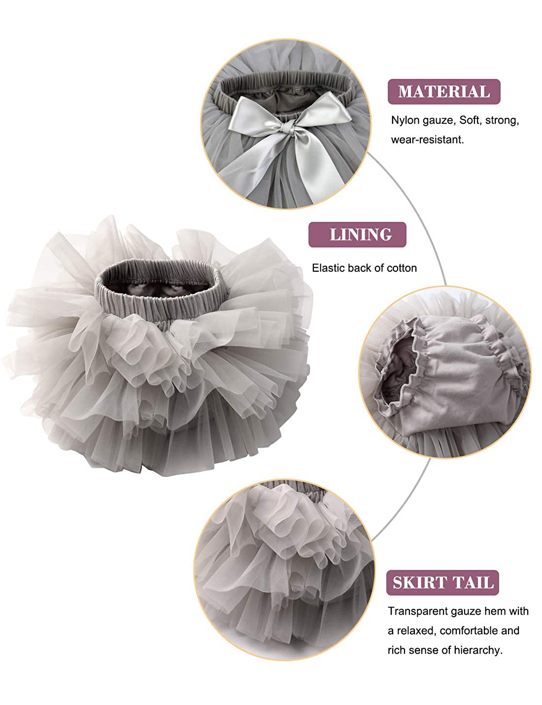 Baby Girls Tutu Bloomers Diaper Cover Cotton Tulle Bloomers and Headband Set
