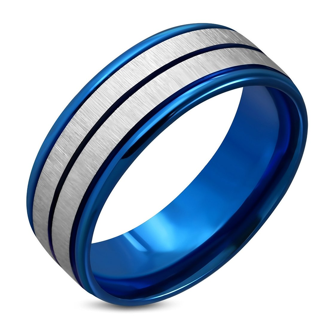 Stainless Steel Blue Anodized Satin Finished 2 Color Step-Edge Comfort Fit Half-Round Band Ring