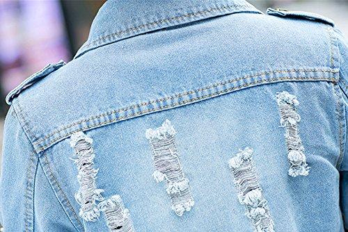 Tanming Women's Casual Lapel Slim Long Sleeve Denim Outercoat Jacket Windbreaker (Medium, Blue) by Tanming (Image #7)