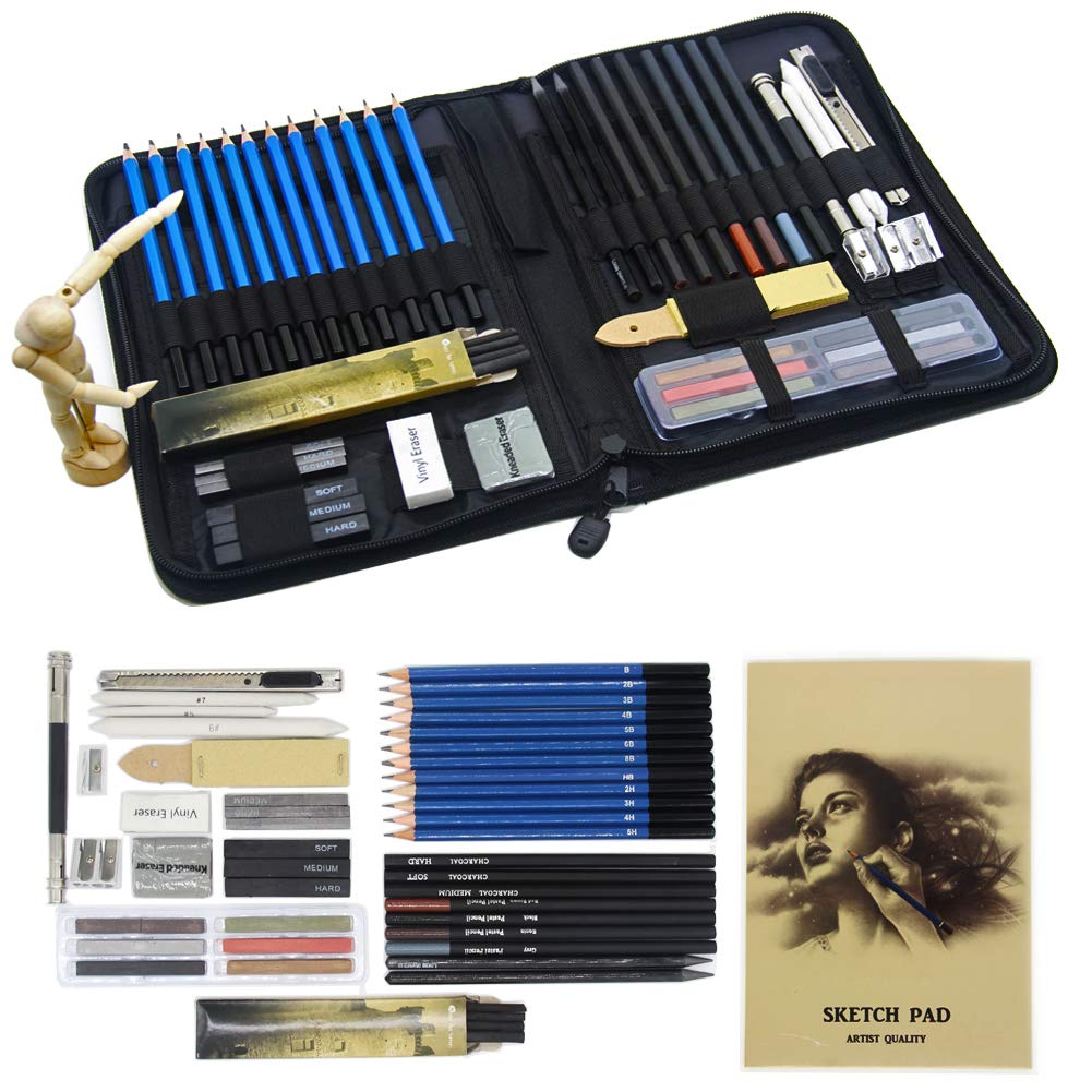 Parallel Halo Professional Art Kit Drawing and Sketching Set with Carrying Case; Sketching and Charcoal Pencils; Art Kit for Kids, Teens and Adults (49sets) by Parallel Halo