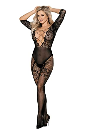 sale retailer 34870 b02d1 Transparent Catsuit Bandeau Bodystocking Netz Nylon Dessous ...
