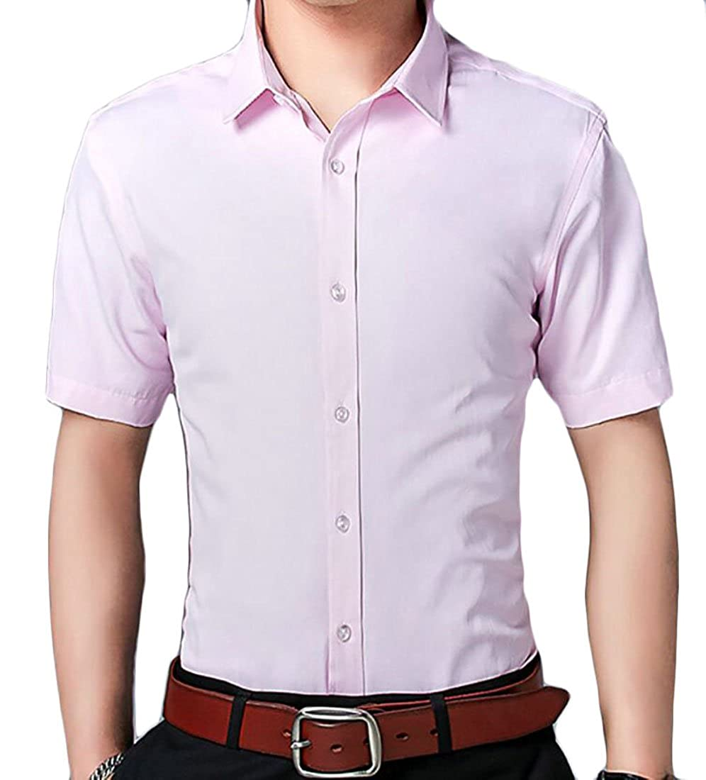 S-Fly Mens Short Sleeve Non-Iron Business Casual Buttons Formal Dress Shirts