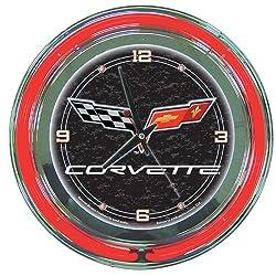 Chevrolet Corvette Chrome Double Ring Neon Clock, 14
