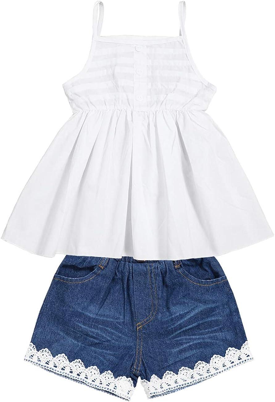 2pcs Toddler Baby Girls T-Shirt Dress+Jeans Pants Clothes Outfits Set