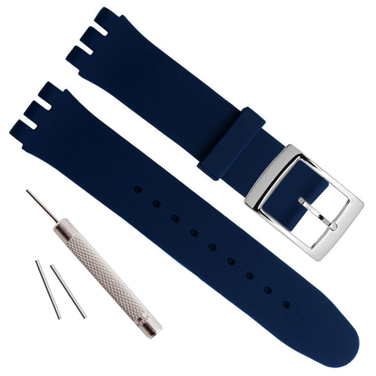 Silver Plated Stainless Steel Buckle Waterproof Silicone Rubber Watch Strap Watch Band (17mm, Navy Blue)