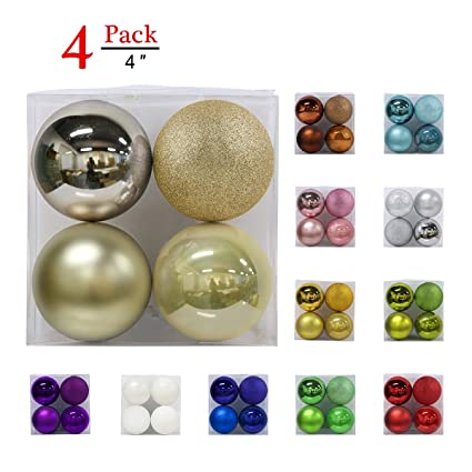 Christmas Balls Ornaments For Xmas Tree Shatterproof Christmas Tree Decorations Large Hanging Ball Champagne Gold 4 0