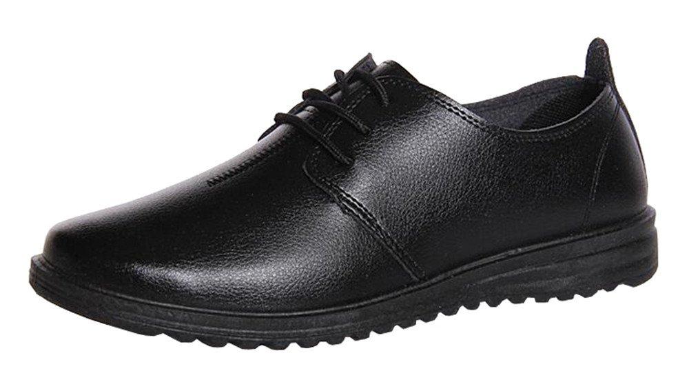 missfiona Men's Casual Lace-up Uniform Dress Shoes Leather Lined Plain Toe Modern Shoes(9, Black)