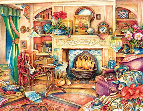 SunsOut Puzzles Fireside Embroidery by Artist Kim Jacobs 1000 Piece Large Piece Jigsaw Puzzle (Kim Jacobs Calendar)