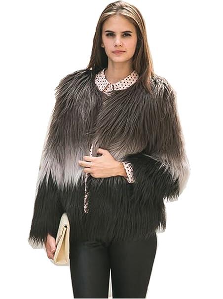 Choies mujer abrigo de piel sintética manga larga delantera abierta color bloque de color teñido anundado XL: Amazon.es: Ropa y accesorios