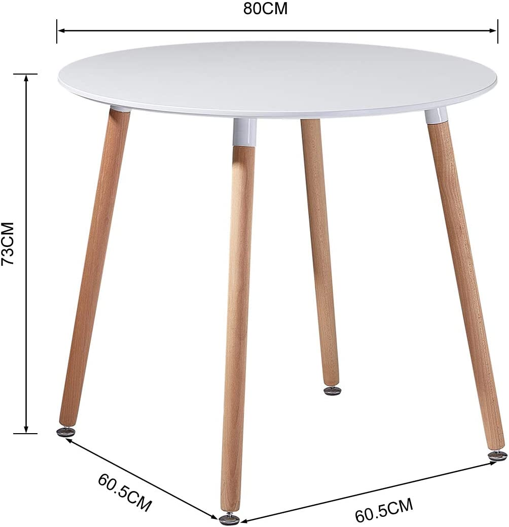 Dorafair Kitchen Dining Table Round Coffee Table White Modern Table Office Conference Pedestal Table With Solid Wood Legs White 80 X 80 X 72 Cm Amazon Co Uk Kitchen Home