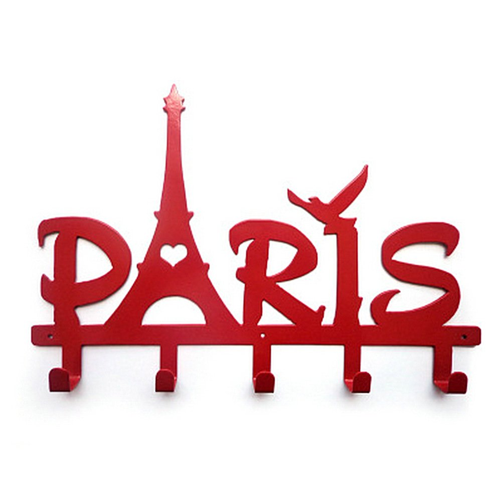 Duolaimi Creative Home Decoration Clothes Hanging Eiffel Tower Letters Wall Hooks Iron Hook