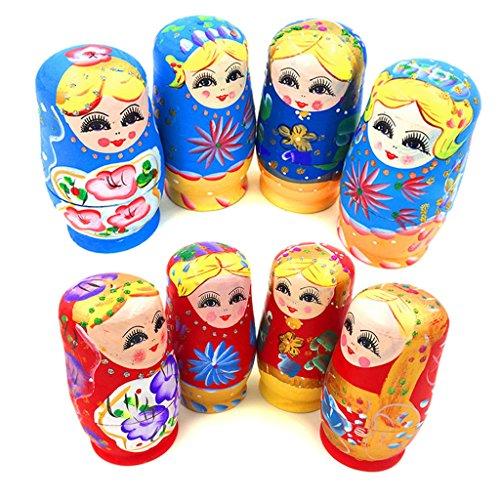 UJuly Set Of 5Pcs Traditional Russian Nesting Stacking Dolls Wooden Babushka Matryoshka Hand Painted GiftBeautiful Home Office Desk Table Decorations Random Delivery