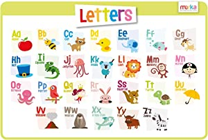 merka Educational Placemat for Kids - Alphabet - Big and Colorful Mat - Learn The Letters, ABC - Non Slip, Washable and Reusable - Learn About Each Letter, Perfect for Toddlers and Preschools