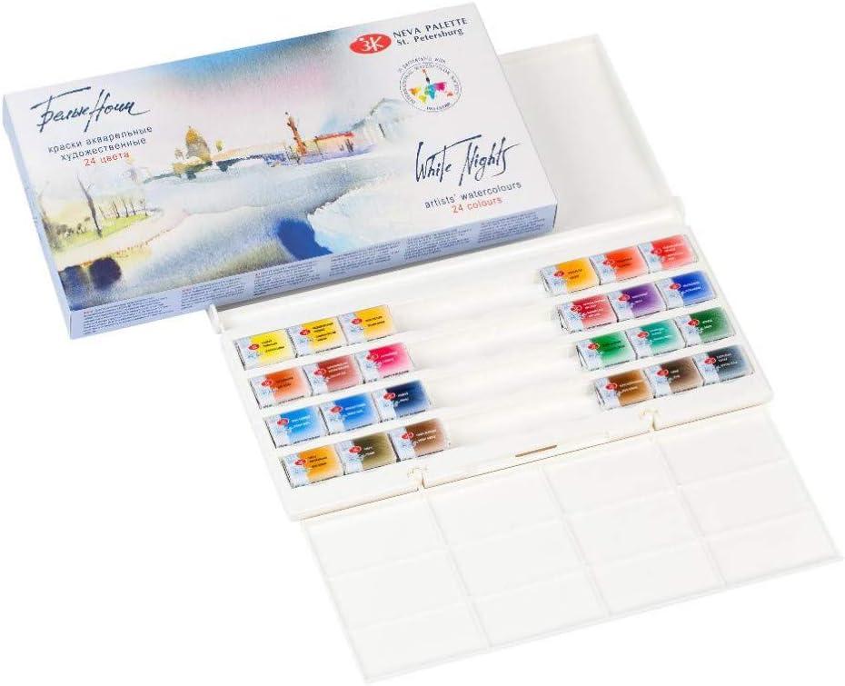 Fundamental artist 36 Color Watercolor Paints St.Petersburg White Night Palette