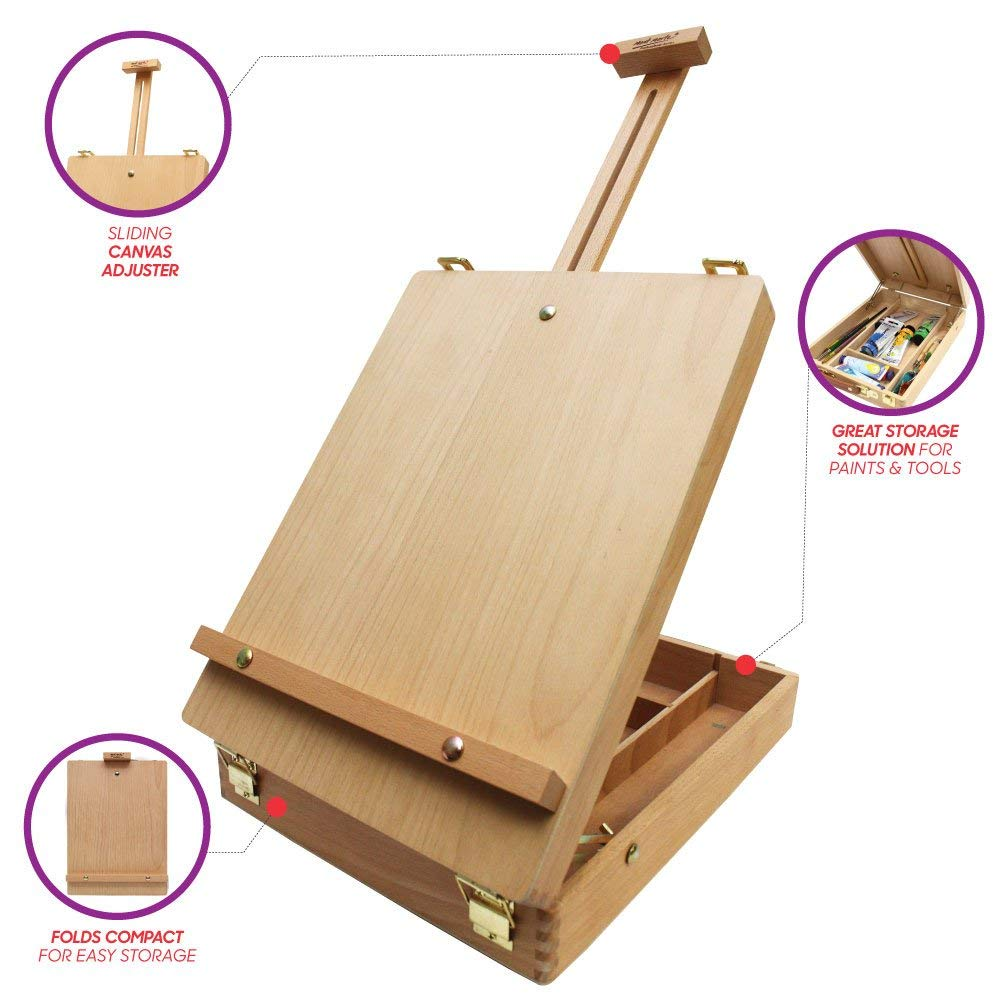 Mont Marte Adjustable Easel Wood Table Sketch Box Easels Portable Art Easel for Painting Drawing