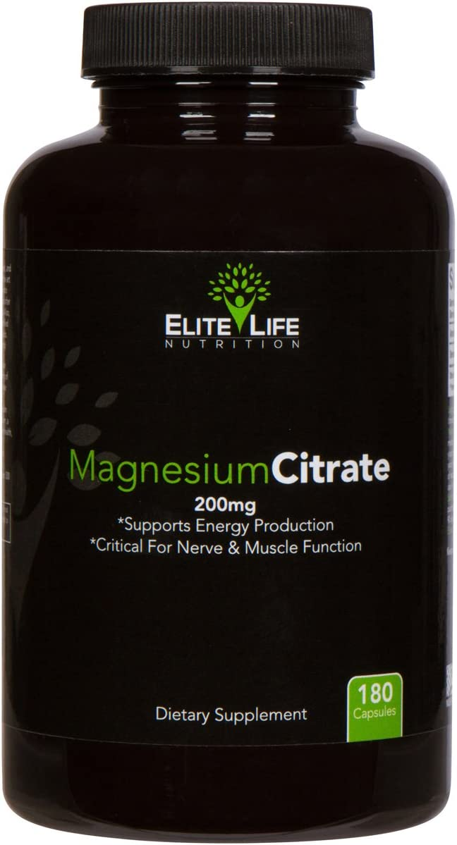 Magnesium Citrate 200mg - Pure, High-Potency, Bioavailable, and Natural Magnesium - Optimum for Stress and Anxiety Relief, Sleep, Relaxation, Constipation, and Brain Support Now - with 180 Capsules
