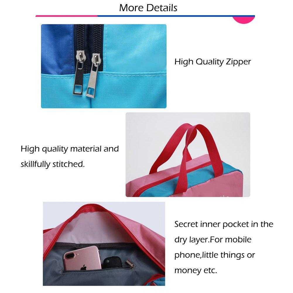 Zone de stockage de chaussures sac /à couches DOWE Sac fourre-tout multifonctionnel de stockage de voyage de plage avec la zone s/èche