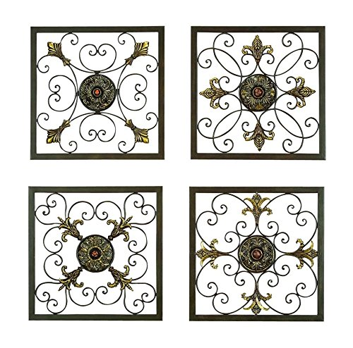 Aspire Deco 79 Rustic Metal Framed Scrollwork and Medallion Wall Plaques, 16