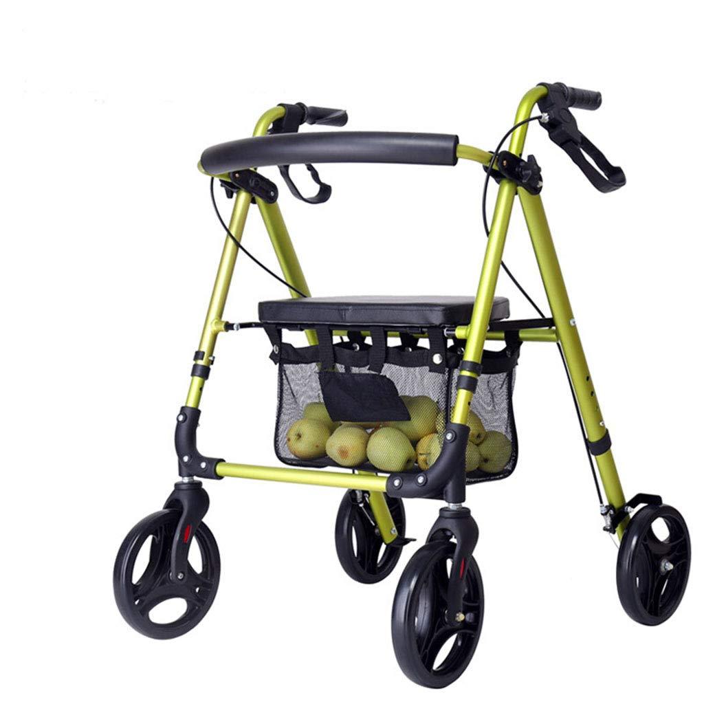 オールドマントロリーウォーカーショッピングカートポータブル車椅子オールドマンウォーカーアルミブロック (色 : 緑)  緑 B07MXVHJB6