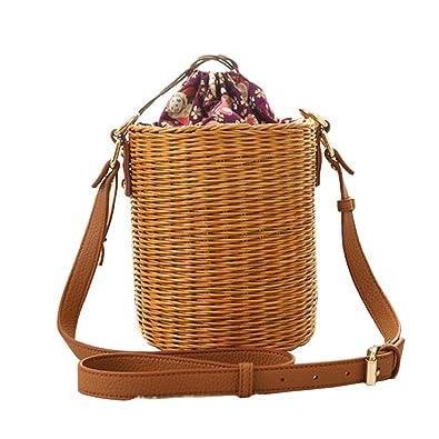 Amazon.com  New Rattan Bucket Handbag 2f7f751995fe4
