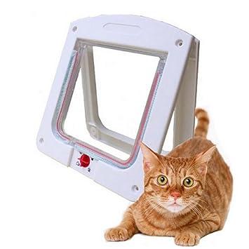Puerta de Gato Interruptor Giratorio con 4 vías de Bloqueo, fácil instalación para Gatos, Perros pequeños, Blanco: Amazon.es: Productos para mascotas
