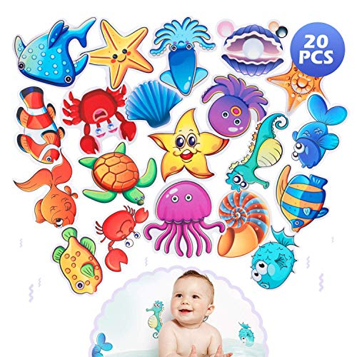 UNC7E Sea Creature Decal Treads Non-Slip Bathtub Stickers Adhesive Bathroom Shower Safety Appliques for Baby Kids Bath Tub,Waterproof and Removable 20 Set
