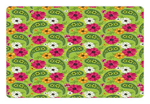 t Mat for Food and Water, Floral Pattern with Vivid Paisley Print Old Vintage Boho Style Decor, Rectangle Non-Slip Rubber Mat for Dogs and Cats, Pistachio Pink Orange ()