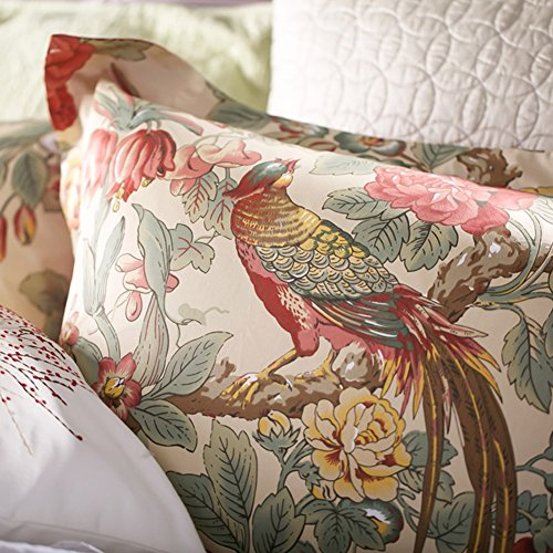 Oriental Floral Wallpaper (Chinoiserie Chic Peacock Floral Duvet Cover Paradise Garden Botanical Bird and Tree Branches Vintage Stylized Long Staple Cotton Bedding Set (King, Autumn Red))