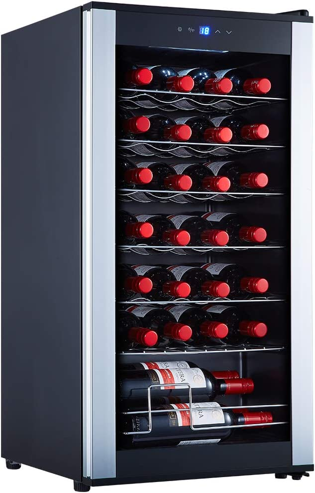 STAIGIS 28 Bottle Wine Cooler Refrigerator – Freestanding Wine Fridge w/ 41-64°F Temperature Stability Function – Compressor Wine Refrigerator for Red, White, Rose and Sparkling Wine – Glass Door Fridge with Slivery Frame