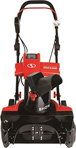 Snow Joe iON18SB-PRO-RED-RM Cordless Single Stage Snow Blower 18-Inch 5 Ah Battery Brushless Renewed