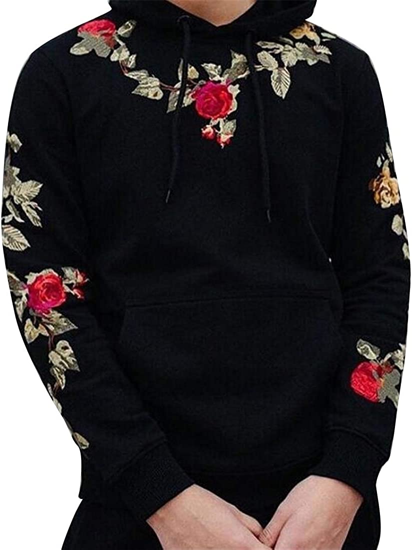 Fensajomon Mens Floral Embroidery Hooded Casual Pocket Front Hoodies Sweatshirt