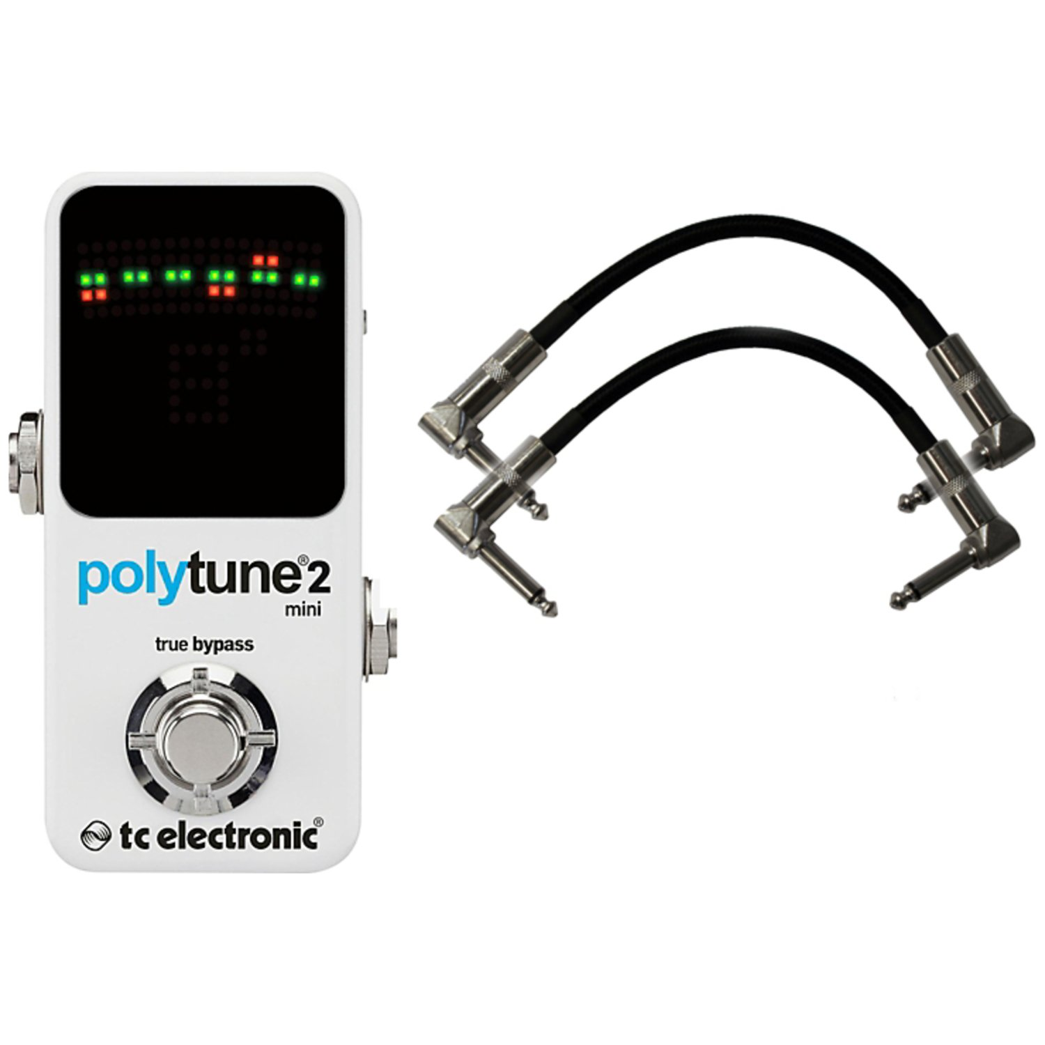 TC Electronic Polytune 2 Mini Tuner Pedal w/ 2 Patch Cables