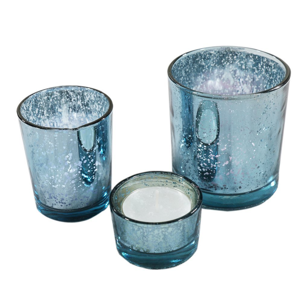 Romantic Mercury Glass Candle Holders Set of 3 Votive Tealight Candlestick For Home And Wedding Decoration (Blue)