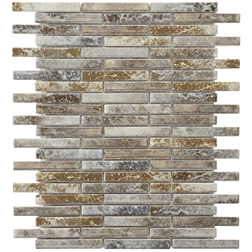 SomerTile FCP53RNS Arcadia Brick Noce Slate Porcelain Floor and Wall Tile, 10.75