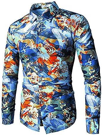 IYFBXl Camisa Vintage Hombre - Color Block, Azul, XXL: Amazon ...