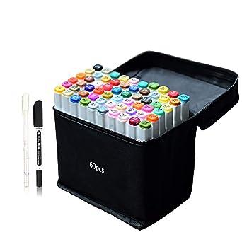 Amazoncojp 60色 マーカーペン イラストマーカー 2種類のペン先 太字