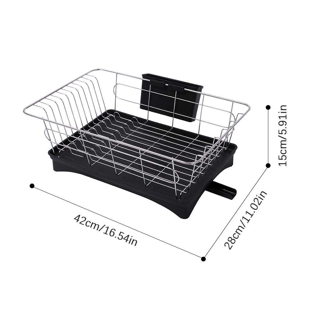 a Prueba de /óxido Color Negro y Blanco Opcional para encimera de Cocina Juman Ahorra Espacio Gran Capacidad Duradero y Resistente Escurreplatos de Acero Inoxidable con escurridor Negro