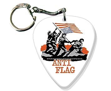 Amazon.com: Anti bandera Big púa de guitarra Llavero Logo de ...