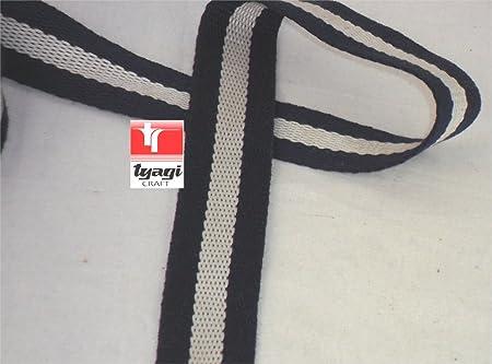 30 mm de espesor grueso de cinta correa de algodón correa de campaña Upholestry robusto de correas de algodón bolsas Craft Nevy azul Tyagi Craft, Blue with White Line, 5 m: Amazon.es: