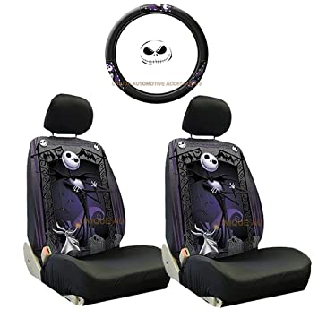 5pc nightmare before christmas jack skellington steering wheel cover seat covers set new by uaa - Nightmare Before Christmas Steering Wheel Cover
