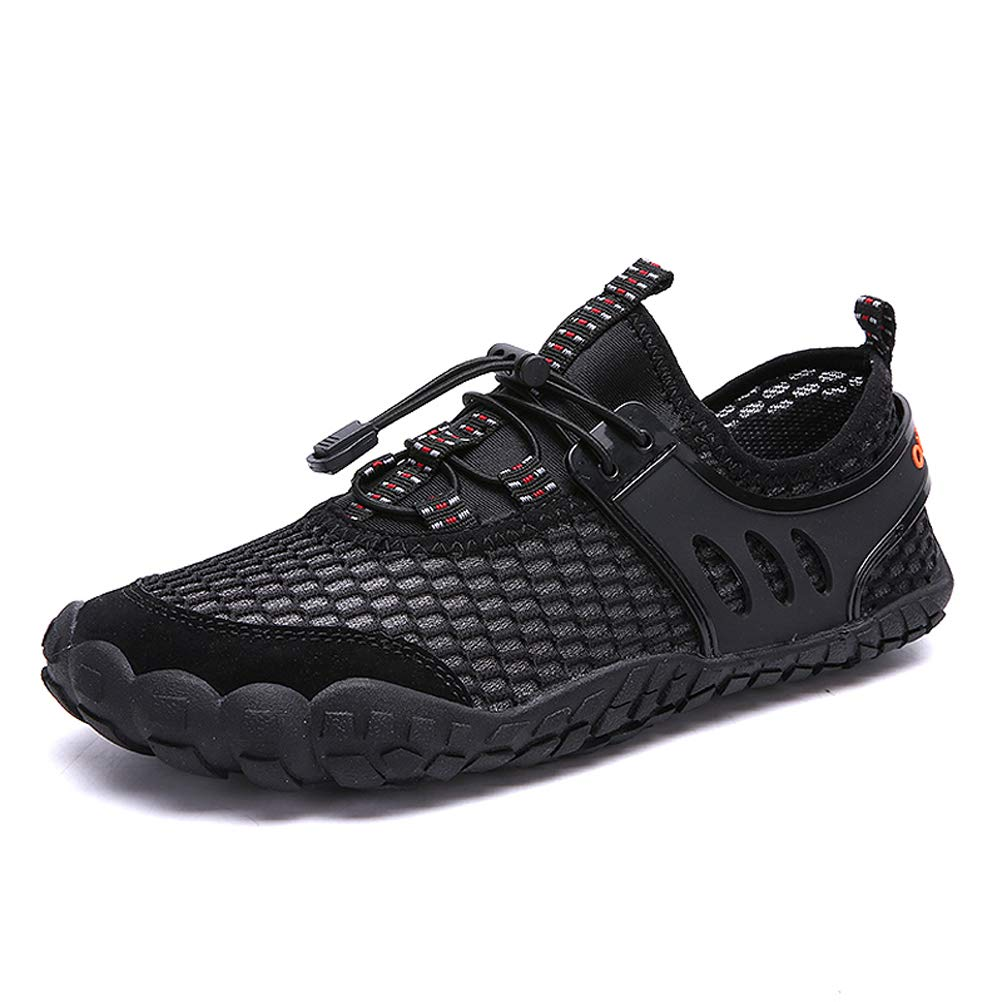 AFT AFFINEST Mens Womens Water Shoes Outdoor Hiking Sandals Aqua Quick Dry Barefoot Beach Sneakers Swim Boating Fishing Yoga Gym(Black,46) by AFT AFFINEST