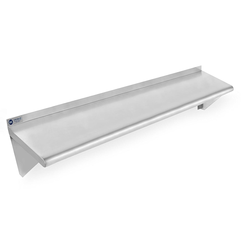 "GRIDMANN NSF Stainless Steel Kitchen Wall Mount Shelf Commercial Restaurant Bar w/Backsplash - 12"" x 48"""